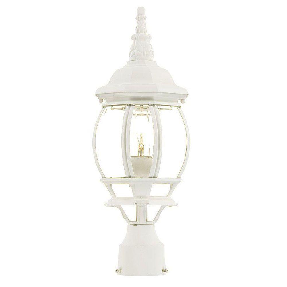 Chateau 1-Light Textured White Outdoor Post-Mount Light Fixture