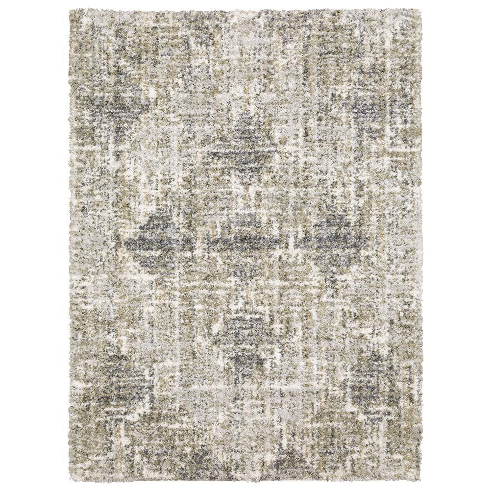 Landon Gray/Green 2 ft. x 3 ft. Abstract Shag Scatter Rug