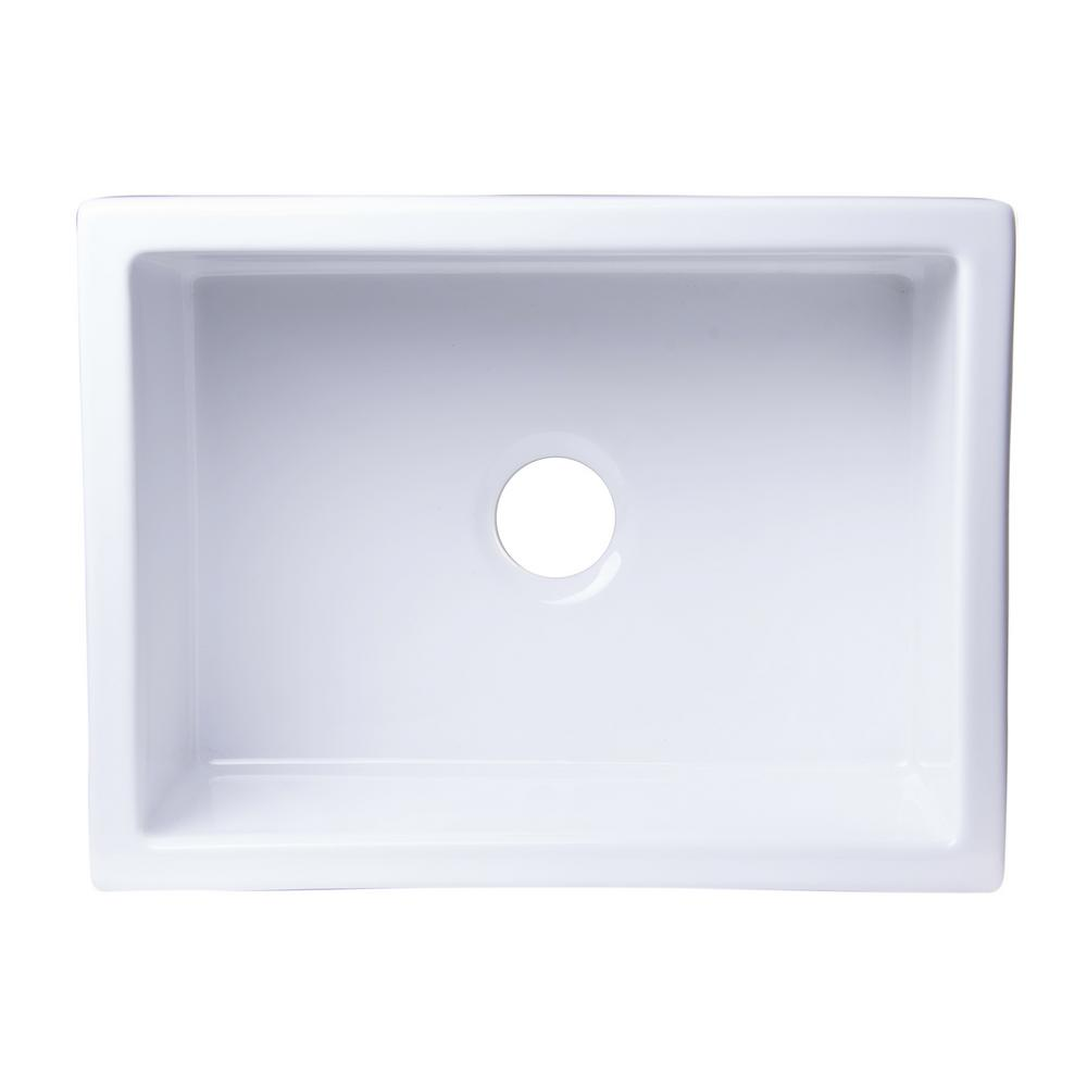 ALFI BRAND Undermount Fireclay 24 in. Single Basin Kitchen Sink in ...