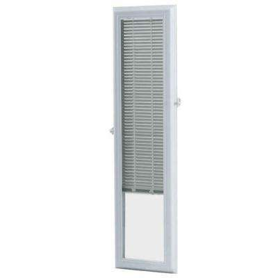 White Cordless Add On Enclosed Aluminum Blinds with 1/2 in. Slats for 8 in. Wide x 36 in. Length Side Light Door Windows