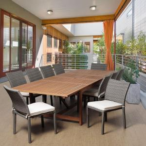 berry 11piece eucalyptus extendable rectangular patio dining set with offwhite cushions