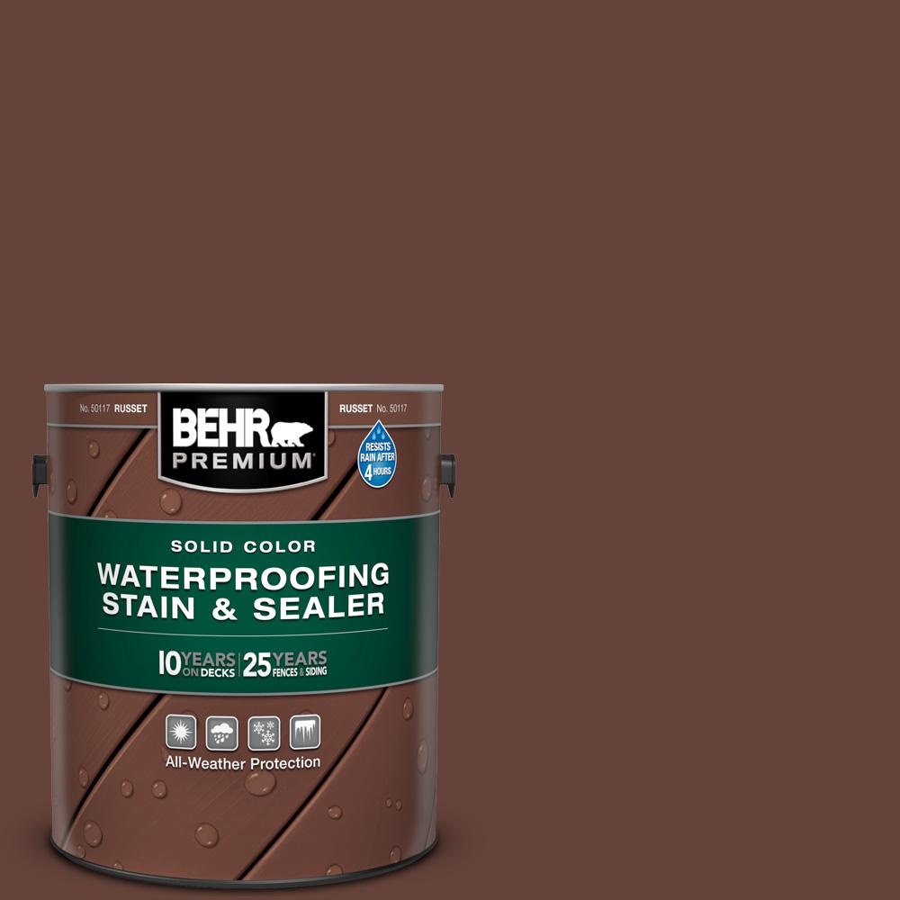 BEHR Premium 1 gal. #SC-117 Russet Solid Color Waterproofing Exterior Wood Stain and Sealer