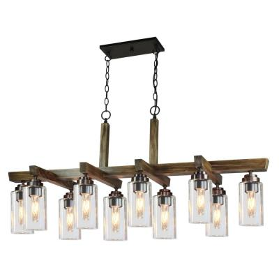 Home Glow 10-Light Distressed Pine Chandelier