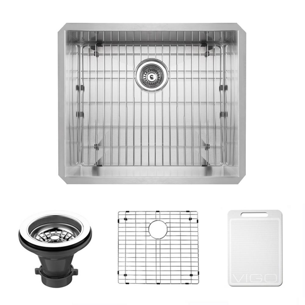 VIGO Undermount 23 In. Single Bowl Kitchen Sink With Grid And Strainer In  Stainless Steel