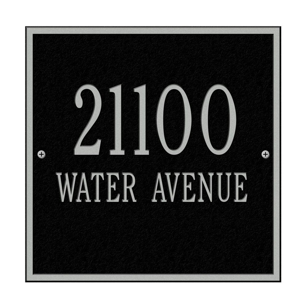 Whitehall Products Square Standard Wall 2-Line Address Plaque - Black/Silver