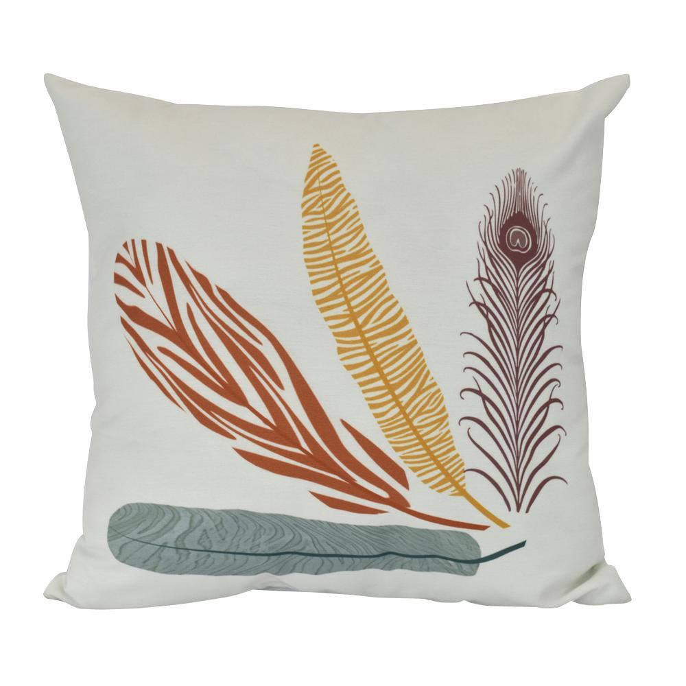 Decorative Pillows Feather : 26 in. Feather Study Floral Print Decorative Pillow-PF885OR16-26 - The Home Depot
