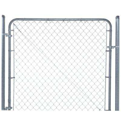 6 ft. x 6 ft. Galvanized Metal Adjustable Single Walk-Through Chain Link Fence Gate