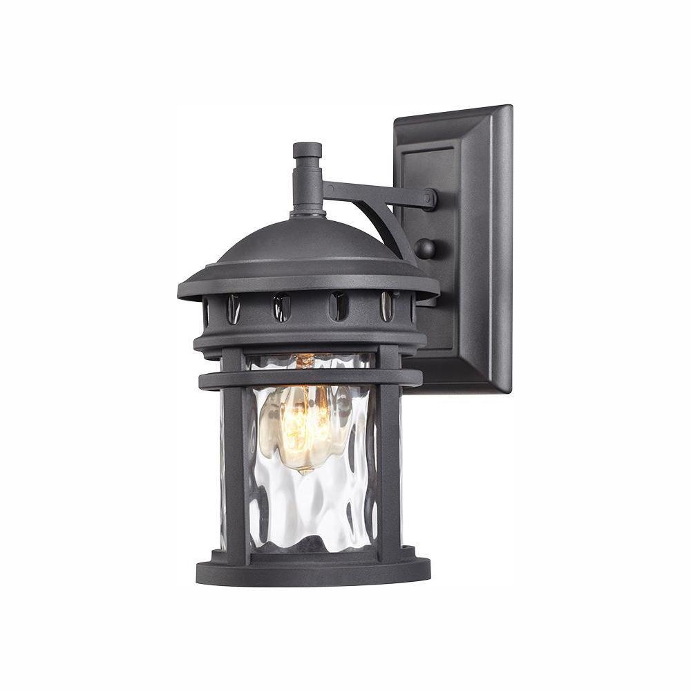 Alestino 1-Light Black Outdoor Wall Lantern Sconce