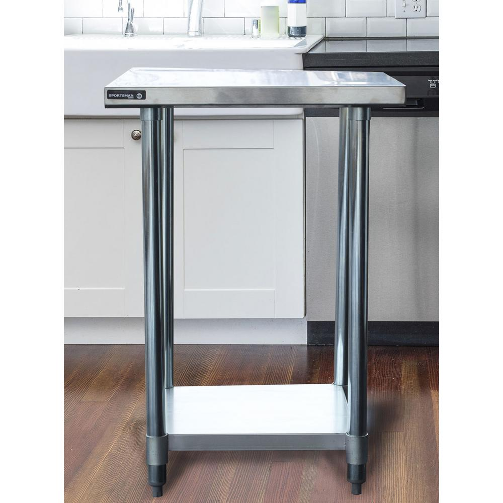 Sportsman Stainless Steel Kitchen Utility Table With Bottom Shelf