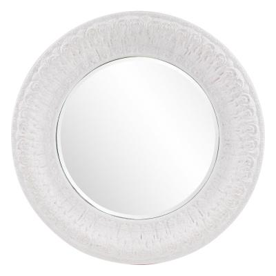 Large Round White Wash Hooks Casual Mirror (54 in. H x 54 in. W)