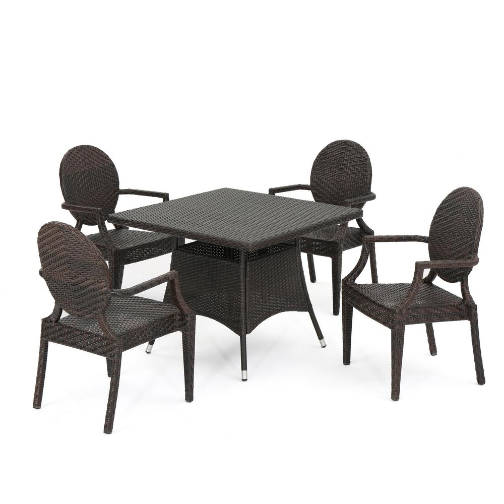 Noble House Glendale Multi-Brown 11-Piece Wicker Outdoor Dining Set-11 -  The Home Depot