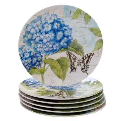 Hydrangea Garden 6-Piece Traditional Multi-colored Melamine Outdoor 11 in. Dinner Plate Set (Service for 6)