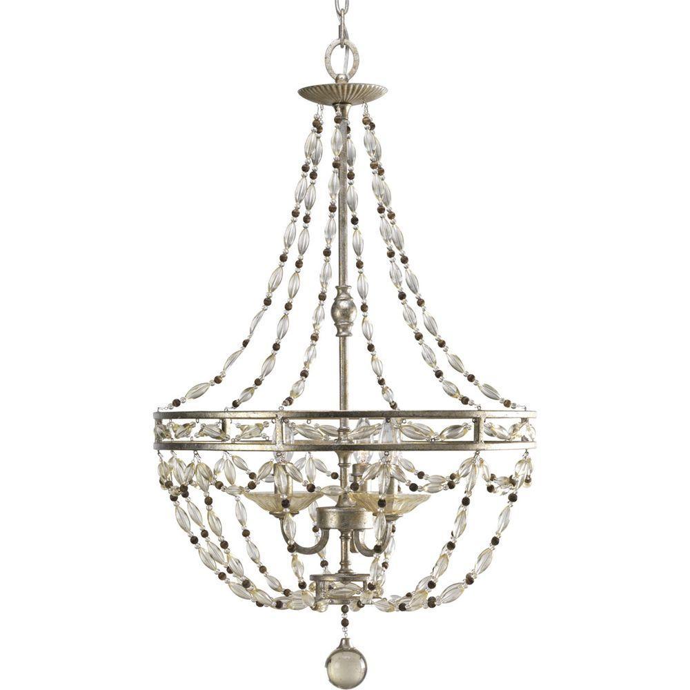 Progress Lighting Chanelle Collection 3-Light Antique Silver Foyer Pendant