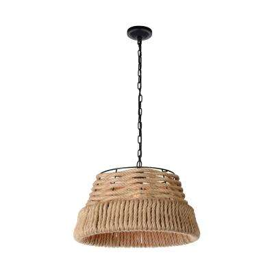 Padma 1-Light Black Chandelier with Brown shade