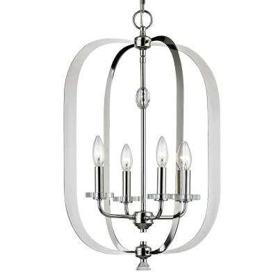 Orleans 4 Light Polished Nickel Pendant with Crystal Bobeche