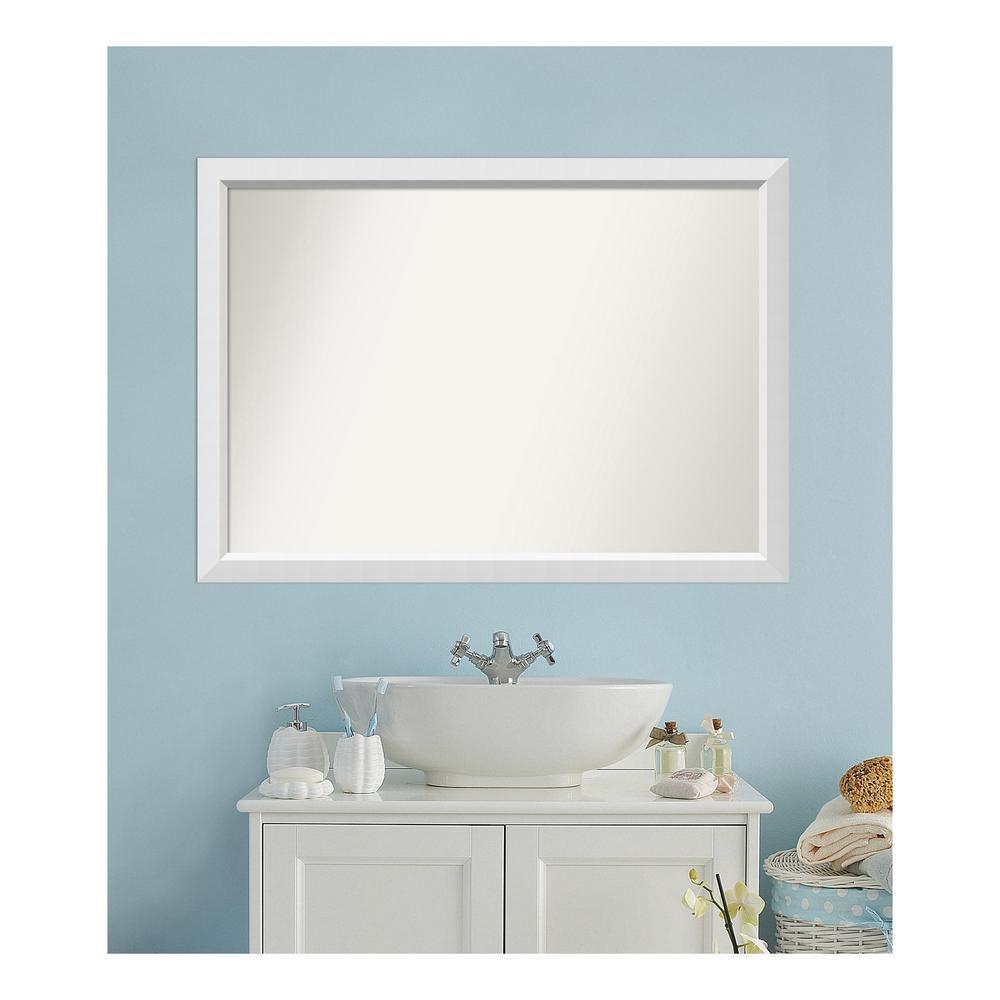 Medium Rectangle White Modern Mirror (33 in. H x 46 in. W)
