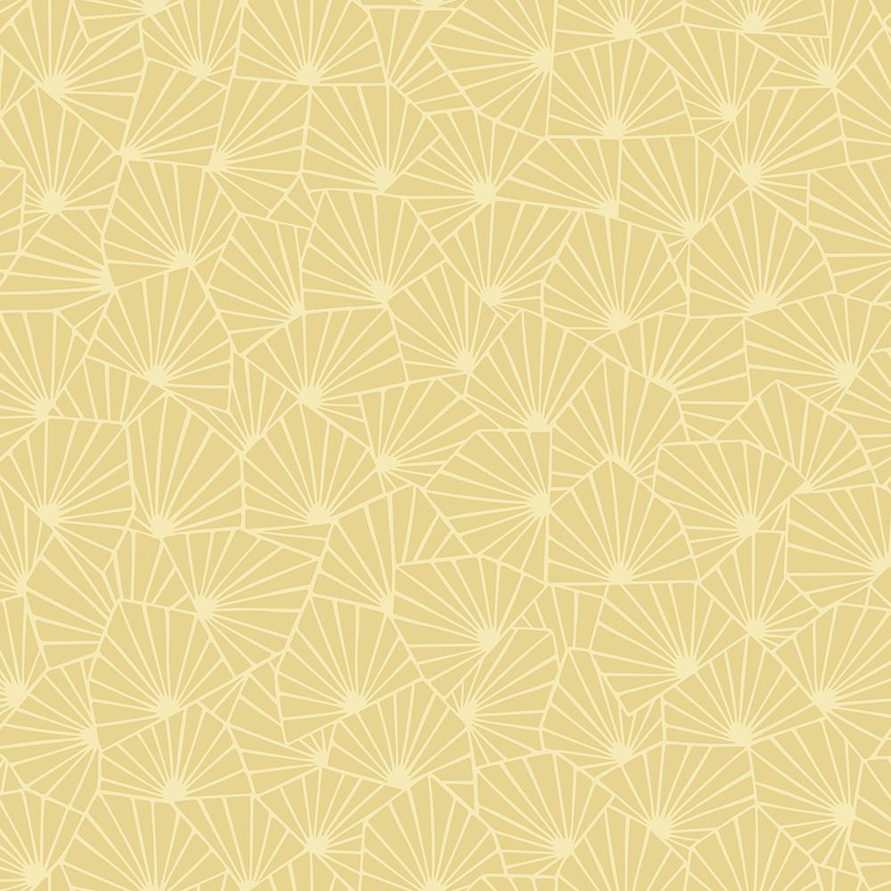 Beacon House Scandinavian Yellow Block Print Tulip Wallpaper Sample