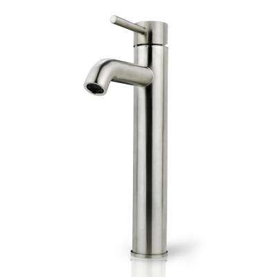 Single Hole Single-Handle Vessel Bathroom Faucet with Ceramic Disc Cartridge in Brushed Nickel