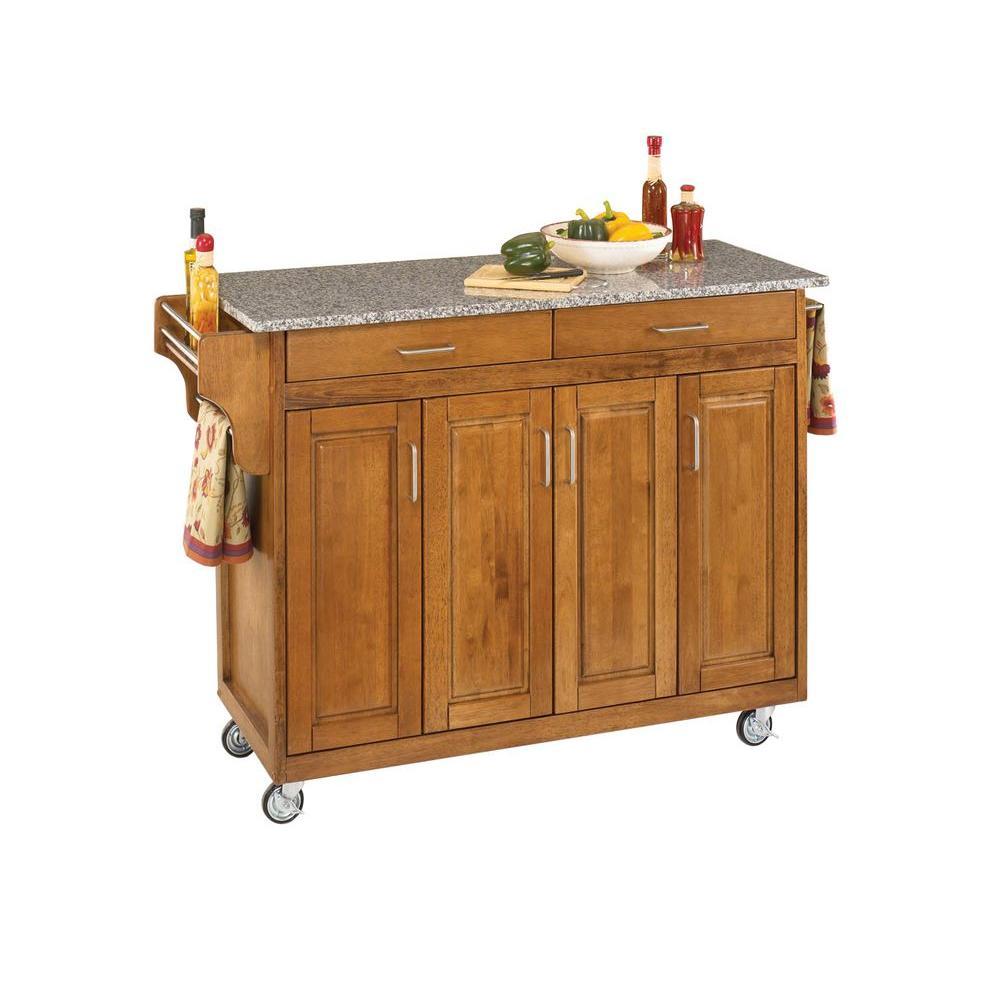 Create-a-Cart Warm Oak Kitchen Cart with Salt and Pepper Granite Top