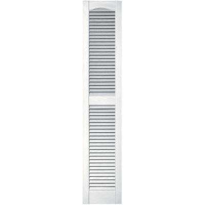 12 in. x 60 in. Louvered Vinyl Exterior Shutters Pair in #001 White