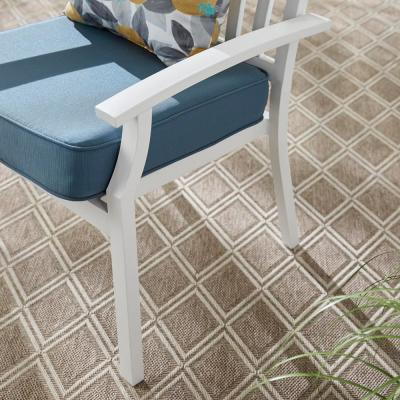 Jasper Ridge White Galvanized Steel Slat Back Stationary Outdoor Patio Dining Chair with Standard Blue Cushion (2-Pack)