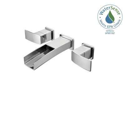 Kenzo 2-Handle Wall Mount Bathroom Faucet Trim Kit in Polished Chrome with Waterfall Spout (Valve Not Included)