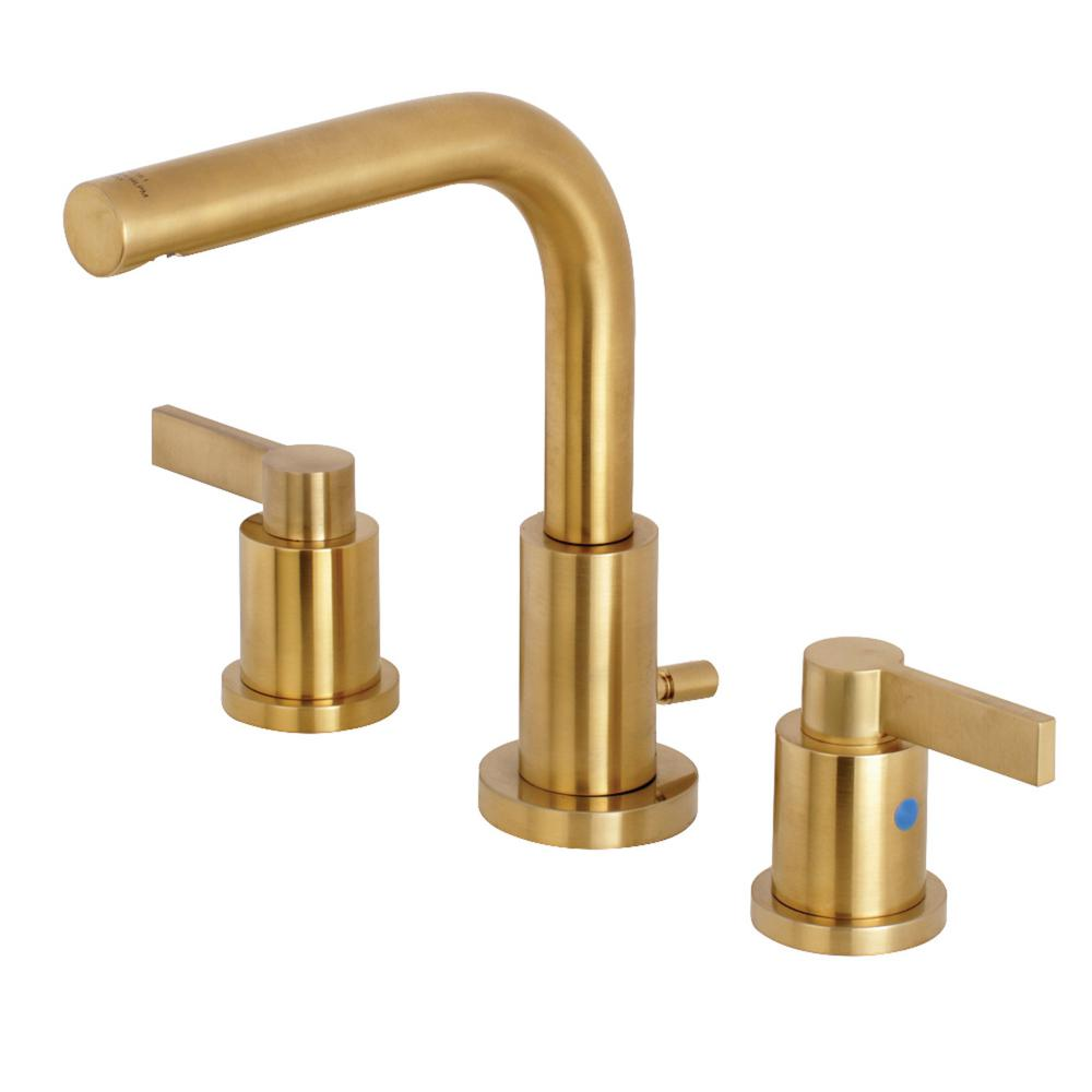 Kingston Brass Emilia 8 in. Widespread 2-Handle High-Arc Bathroom Faucet in  Brushed Brass