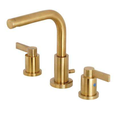 Emilia 8 in. Widespread 2-Handle High-Arc Bathroom Faucet in Satin Brass