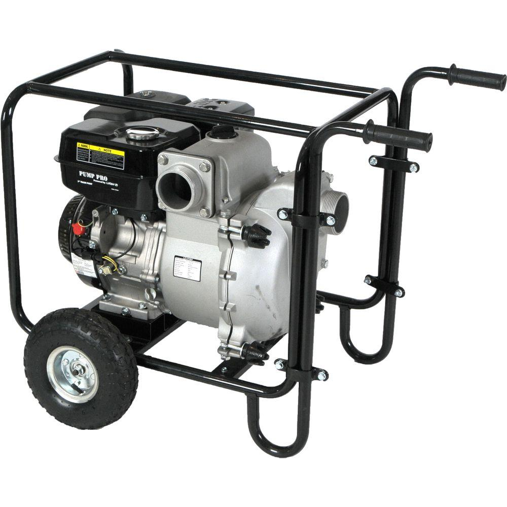 LIFAN Pro-Series 3 in. 9 HP Gas-Powered Utility Water Pump with Wheel Kit