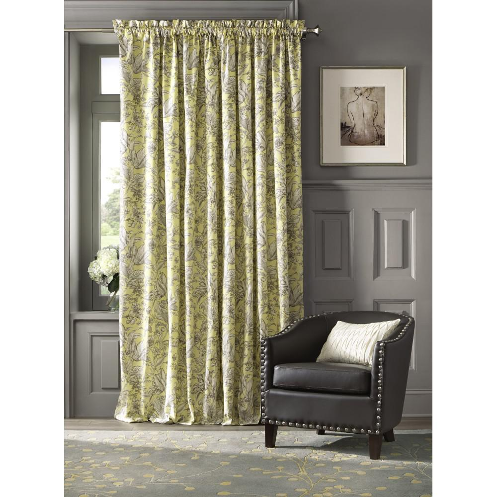 Home Decorators Collection Semi Opaque Lillian 84 In L Cotton Drapery Panel In Butter