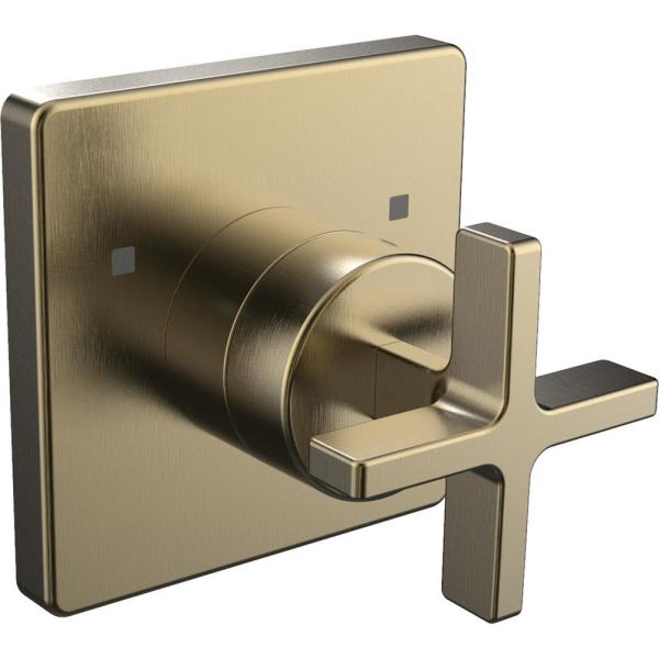 Lura 1-Handle Wall Mounted Transfer Valve Trim in Brushed Bronze (Valve Not Included)