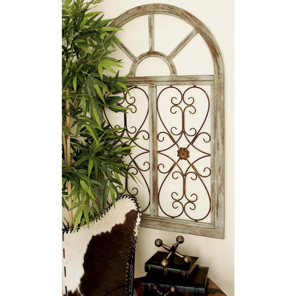 29 in x 46 in rustic brown wood and metal arched window for Window arch wall decor