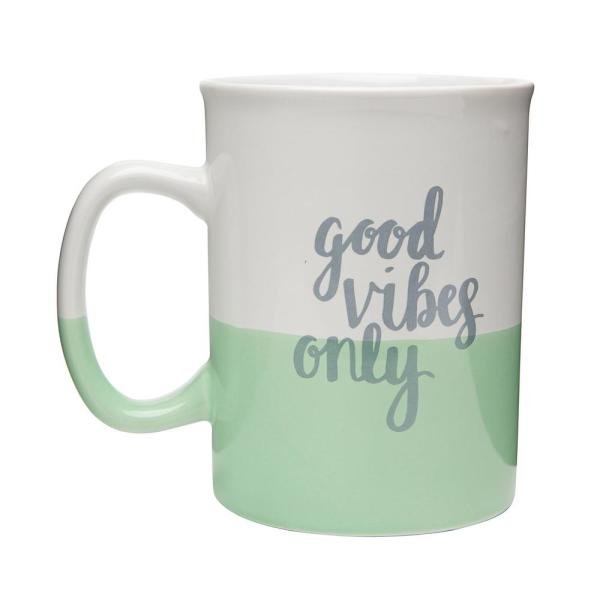 Amici Home Good Vibes Only 28 oz. White-Green Dipped Ceramic Coffee