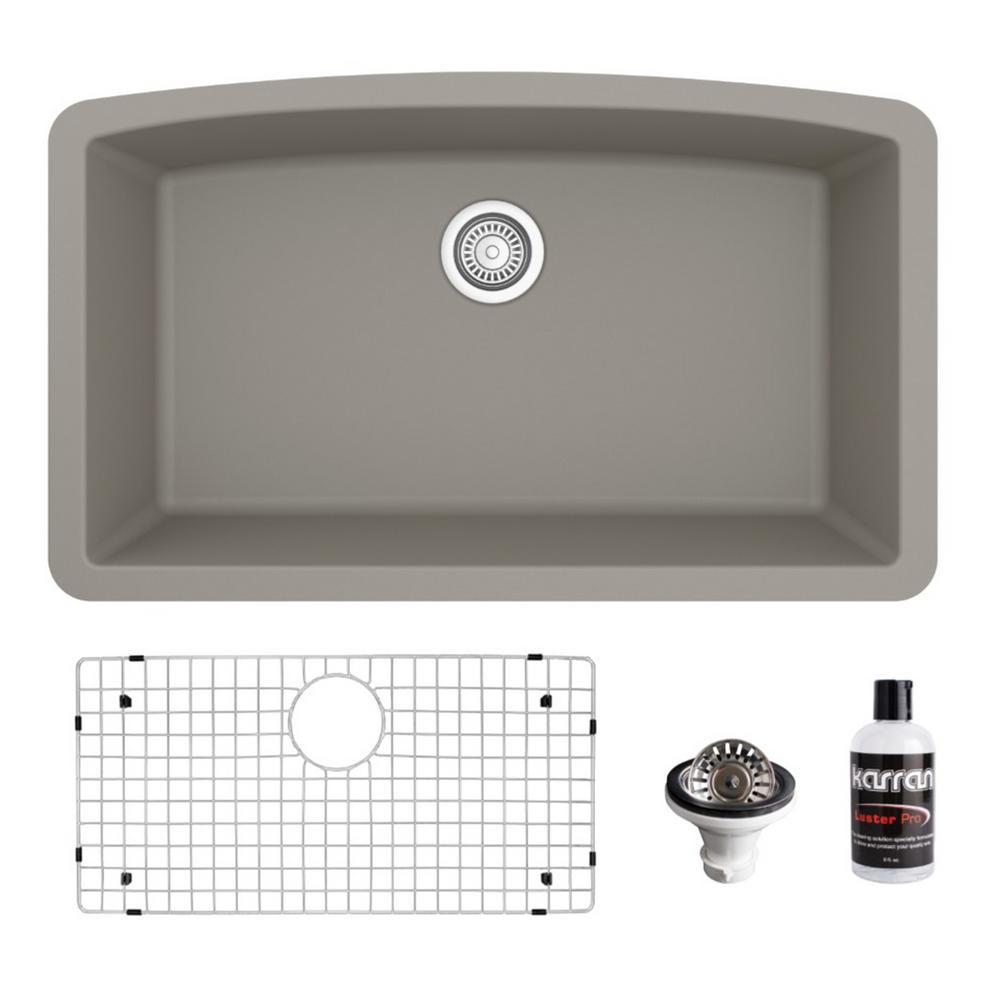 QU-712 Quartz/Granite Composite 32 in. Single Bowl Undermount Kitchen Sink with Grid and Basket Strainer in Concrete
