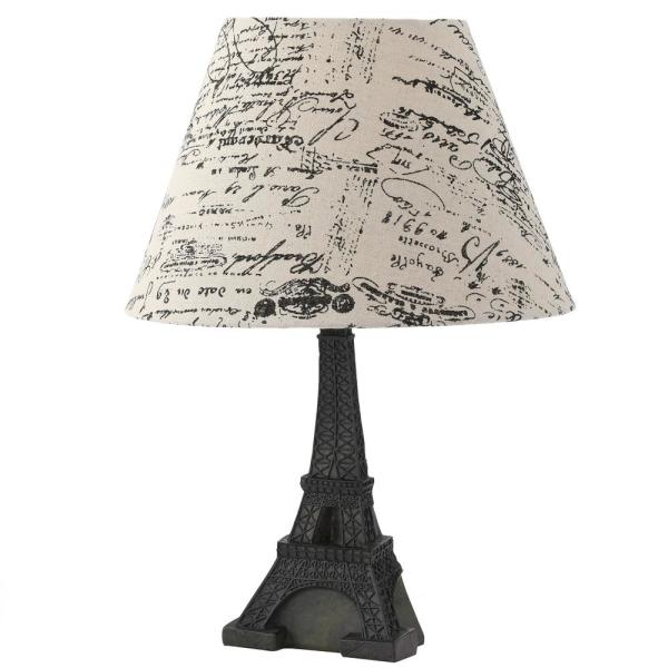 Simple Designs 16 In Brown Slate Eiffel Tower Lamp With French Script Writing Printed Wheat Fabric Paris Shade Lt3010 Bsl The Home Depot