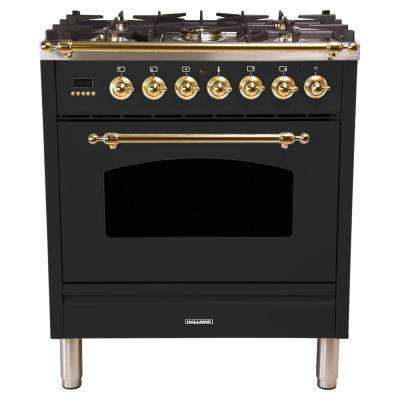 30 in. 3.0 cu. ft. Single Oven Italian Gas Range with True Convection, 5 Burners, Brass Trim in Matte Graphite