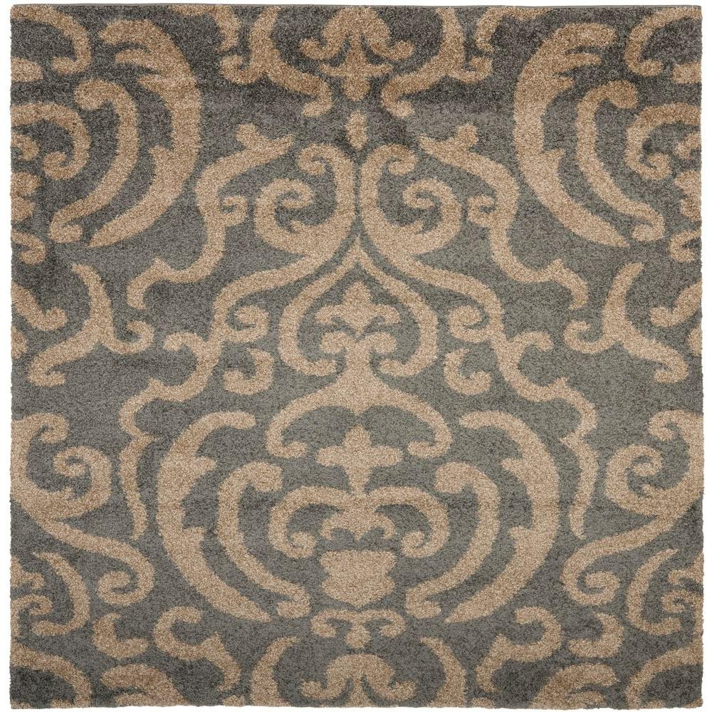 Safavieh Florida Shag Gray Beige 7 Ft X 7 Ft Square Area Rug Sg462
