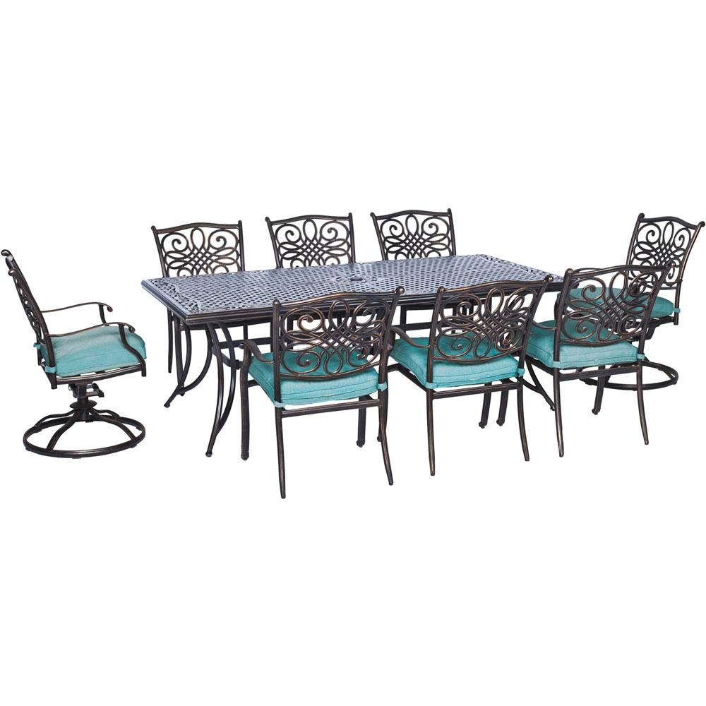Cambridge Rectangular Dining Set Blue Cushions Swivel Chairs