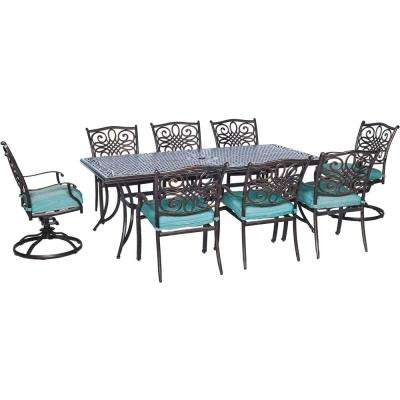 Seasons 9-Piece All-Weather Rectangular Patio Dining Set with Blue Cushions and 2 Swivel Chairs