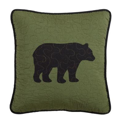 Bear River Black, Green Polyester 15 in. x 15 in. Square Throw Pillow