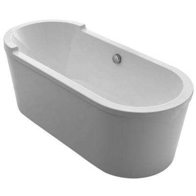 Bathhaus 5.9 ft. Lucite Acrylic Center Drain Oval Freestanding Bathtub in White
