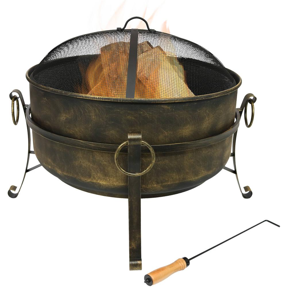 Sunnydaze Decor Cauldron 24 in. x 23 in. Round Steel Wood Fire Pit with Spark Screen in Black