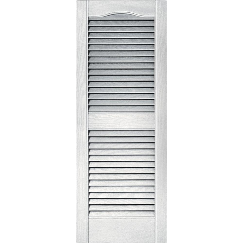15 in. x 39 in. Louvered Vinyl Exterior Shutters Pair in