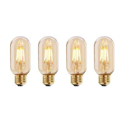 40W Equivalent Amber Light T14 Dimmable LED Filament Light Bulb (4-Pack)