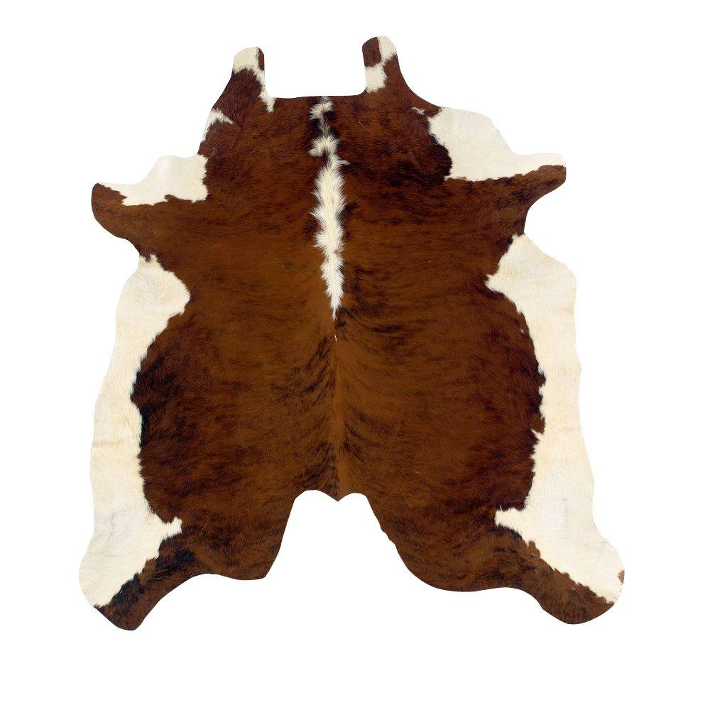Linon Home Decor Cowhide Brown And White Stencil 7 Ft. X 7