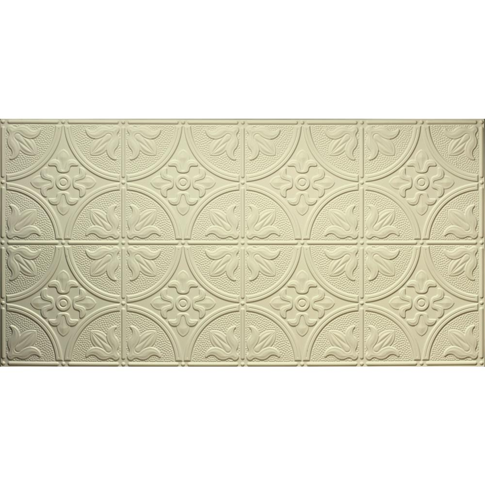Global Specialty Products Dimensions Faux 2 ft. x 4 ft. Glue-Up Tin Style Creme Ceiling Tile for Surface Mount