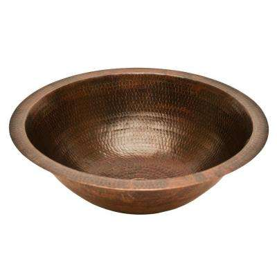 Under-Counter Round Hammered Copper Bathroom Sink in Oil Rubbed Bronze