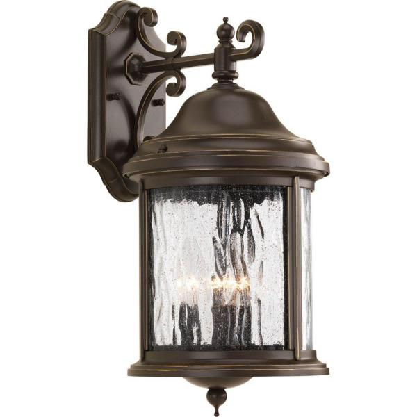 Ashmore Collection 3-Light Antique Bronze 17.25 in. Outdoor Wall Lantern Sconce