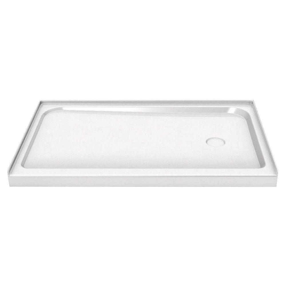 MAAX 60 in. x 36 in. Single Threshold Shower Base with Right Drain in White