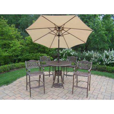 7-Piece Cast Aluminum Patio Bar Height Dining Set with Umbrella